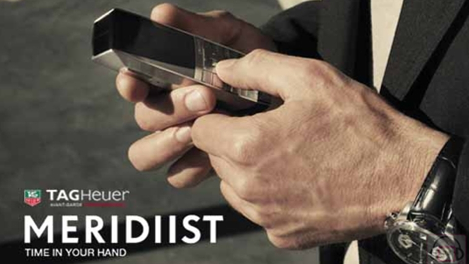 For the launch of Tag Heuer's first mobile phone I created the name 'Meridiist' and the tagline 'Time In Your Hand'. I also wrote all the accompanying promotional copy.