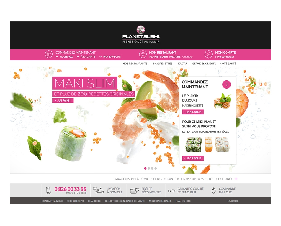 Direction artistique du site Planet Sushi