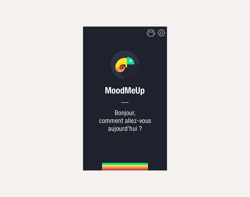MoodMeUp - Conception de l'identité et de l'application en association avec Réginald.